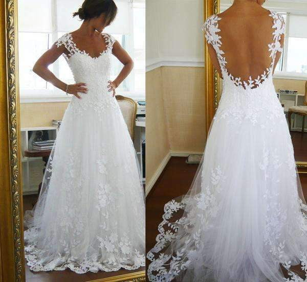Capped Sleeve Open Back Wedding Gowns,Lace Appliques Beach Wedding Dress W91