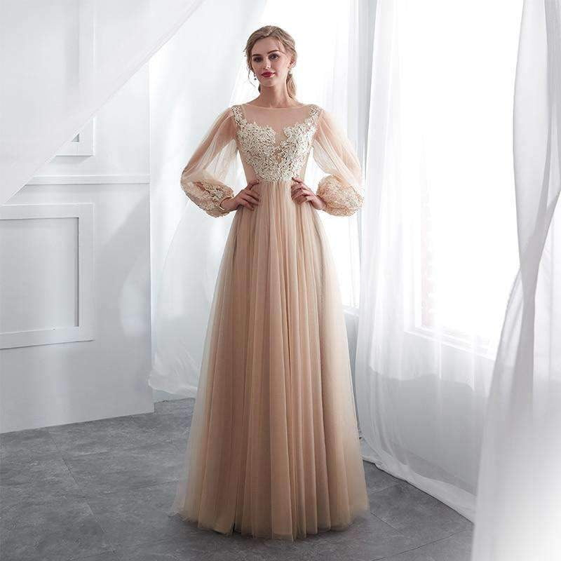 Champagne Prom Dresses Long Puff Sleeves Venice Lace Full Length Evening Dresses