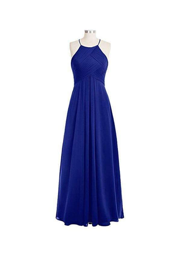 Charming Blue Halter Empire Sleeveless Chiffon Bridesmaid Dress Prom Dresses