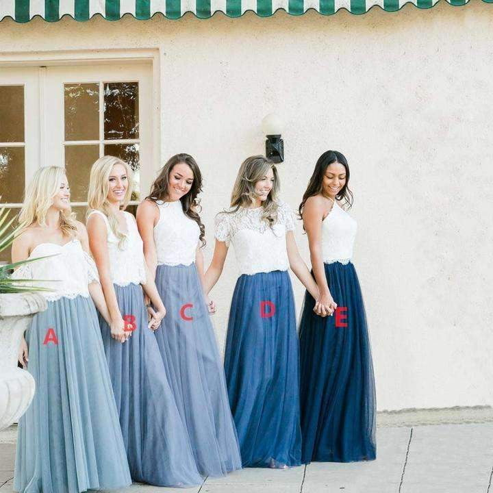 Charming Blue Two Pieces Lace A Line Long Tulle Bridesmaid Dresses