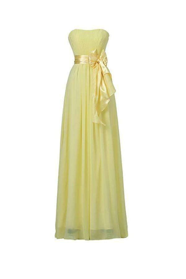 Charming Bright Yellow Sweetheart Chiffon Evening Dress Long Bridesmaid Dress With Bowknot