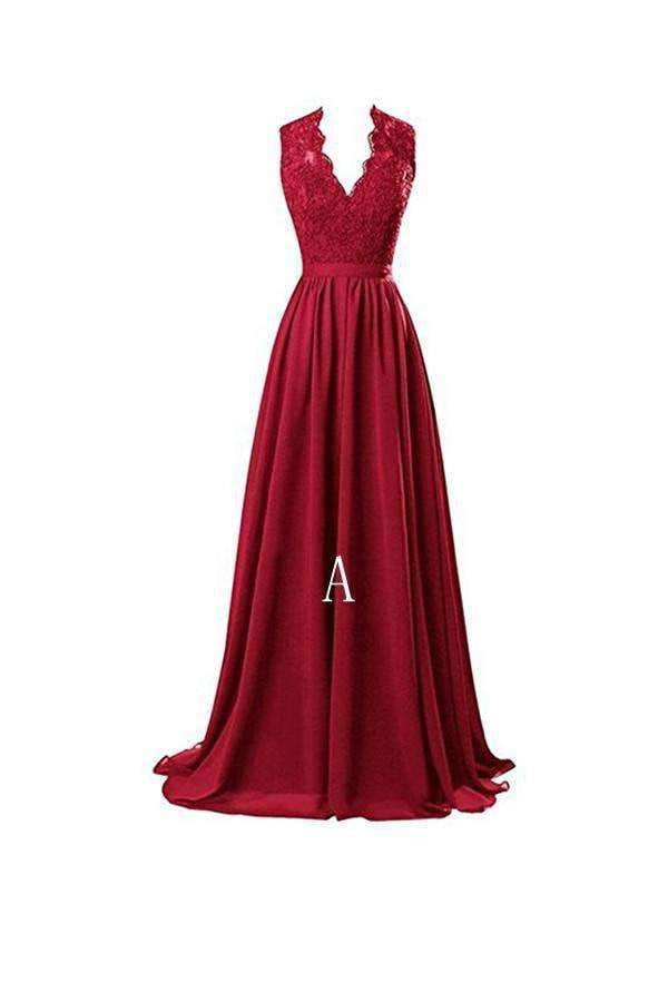 Charming Burgundy V Neck Open Back Chiffon Prom Dress Long Bridesmaid Dresses