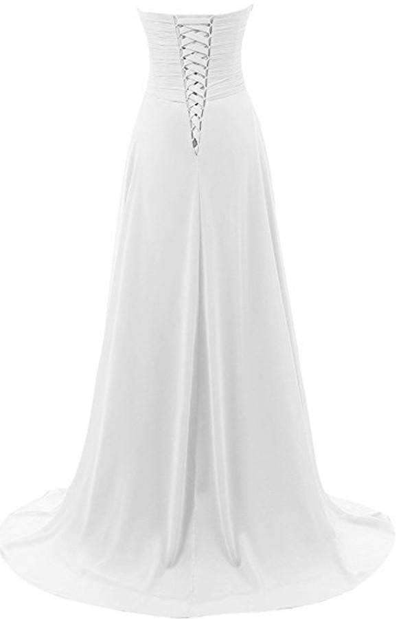Charming Floor Length Bodice Wedding Gowns,V Neck Sequins Beading Beach Wedding Dress OMW49
