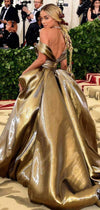 Charming Gold Off Shoulder Ball Gown Fashion Prom Dresses  ,PD00201