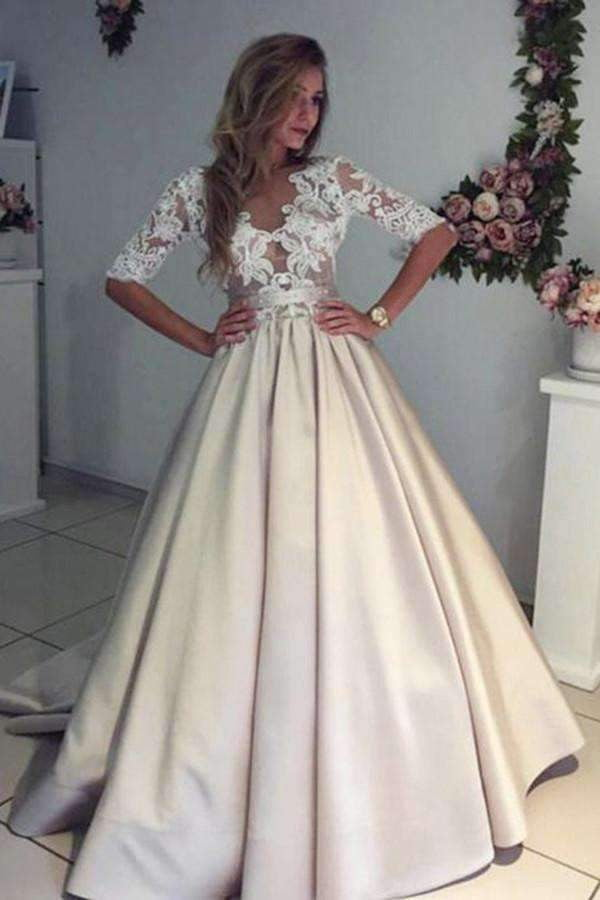Charming Half Sleeves With Lace Appliques Beach Wedding Dresses W343