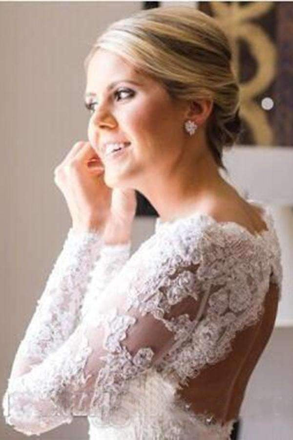 Charming Lace Long Sleeves Open Back With Trailing Wedding Dresses W372