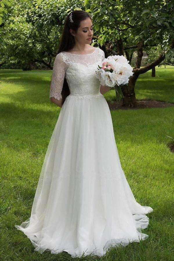 Charming Lace Sweetheart Neck Half Sleeves Wedding Dress W299