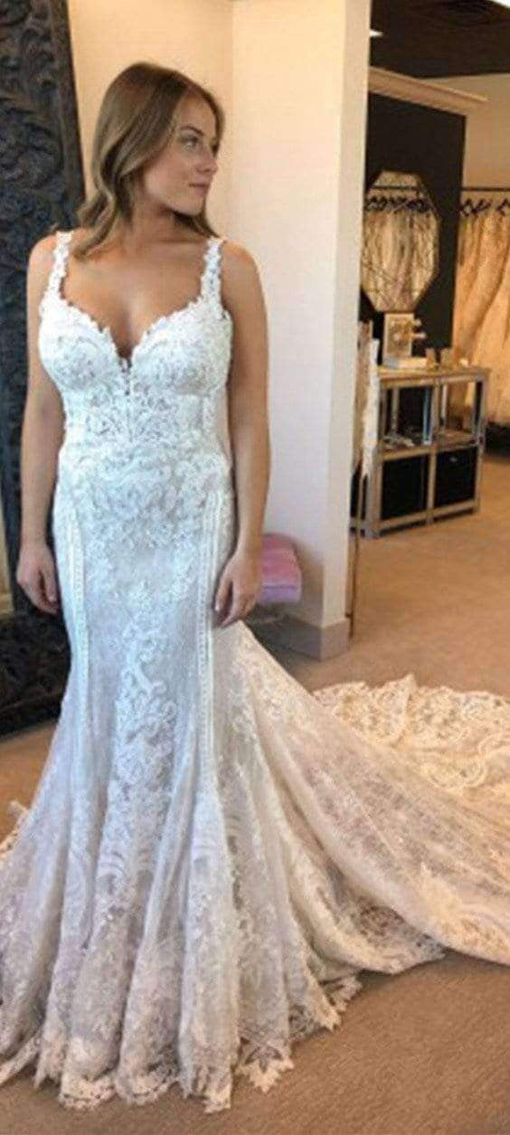 Charming Lace Sweethert Sleeveless With Appliques Wedding Dresses W337
