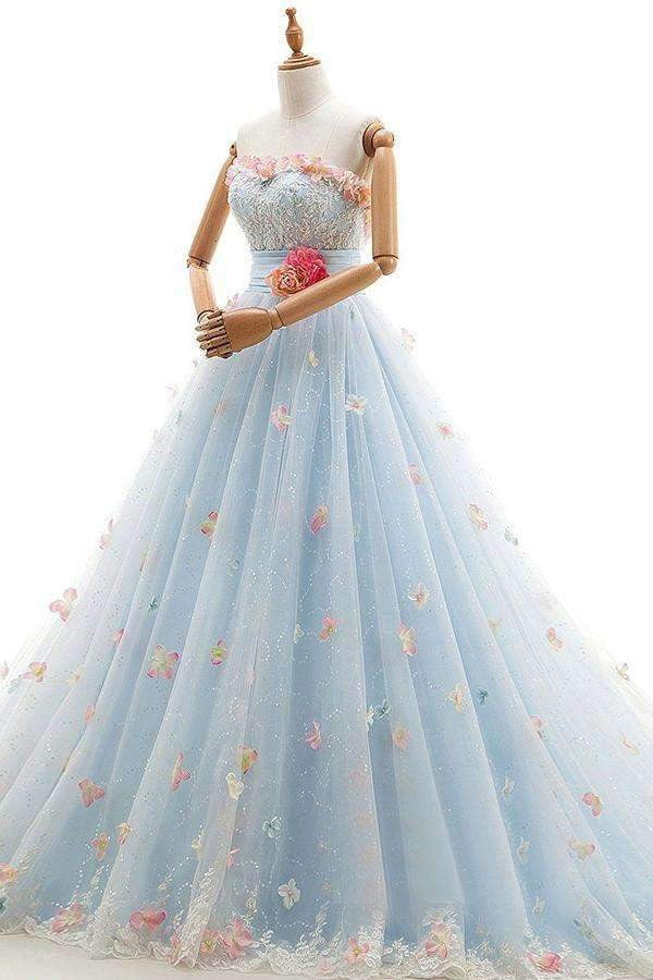 Charming Light Blue Tulle Sweetheart Ball Gown Court Train Wedding Dress W408