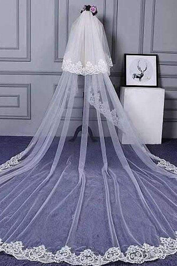 Charming Long Tulle Lace With Appliques Chapel Veils Wedding Veil V21