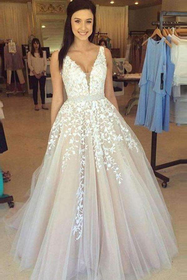 Charming Long Tulle Sleeveless Appliques Wedding Dress Prom Dress OMW52