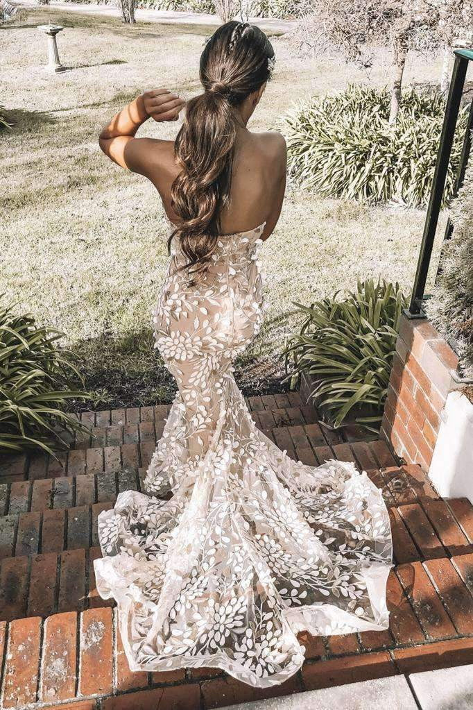 Charming Mermaid Backless Sweetheart Strapless Prom Dress With Appliques P830
