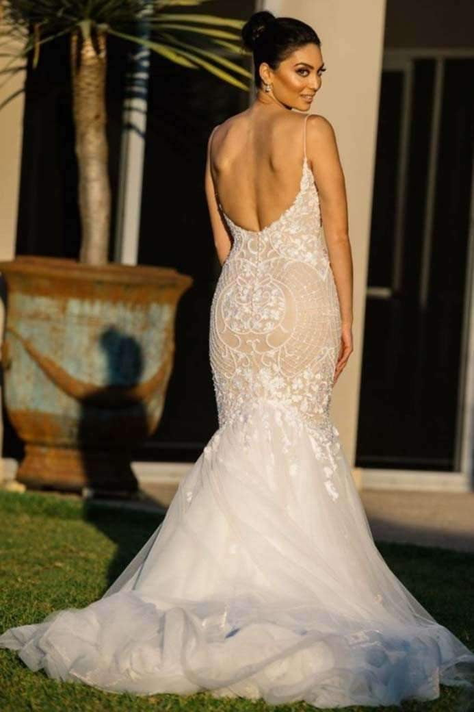 Charming Mermaid Sweetheart Backless Spaghetti Straps Tulle Wedding Dresses W468