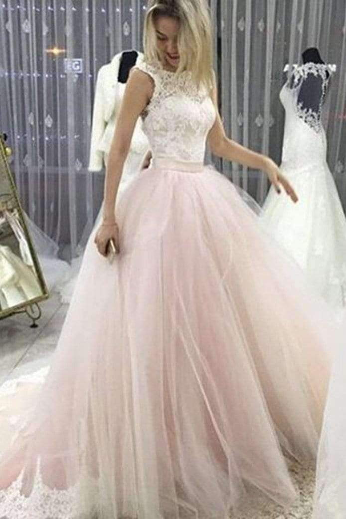 Charming Open Back Round Neck Lace Wedding Dress Ball Gown with Bowknot W485