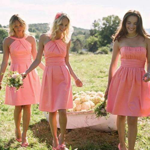 Charming  Short  Mismatched Sleeveless Strapless Halter Knee Length Pink Simple Style Bridesmaid Dresses, AB1157