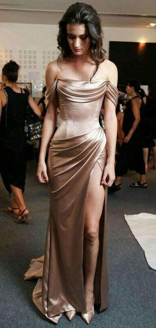 Charming Simple Pleating Satin Silt Off Shoulder Prom Dresses,PD00186
