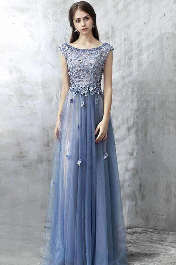 Blue Round Neck Prom Dresses 2019 Tulle Sleeveless Dresses Lace Applique Beading Flower Maxi Occasion Dress