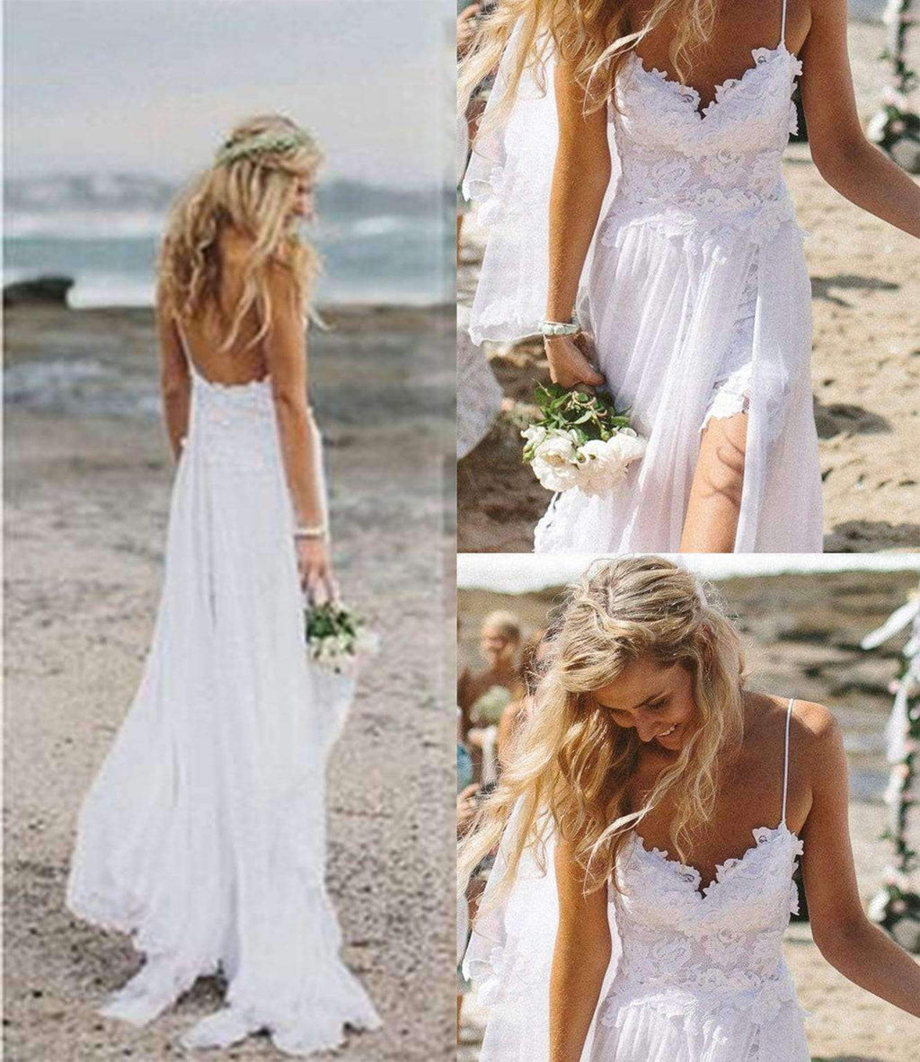 Charming Spaghetti Straps Lace Ivory Simple Beach Sleeveless Bridal Gown W303