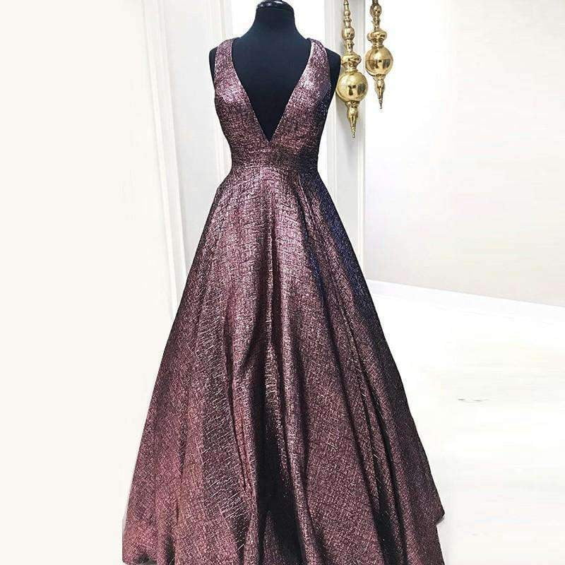 Charming Sparkly V-neck Pockets Prom Dresses,PD00116