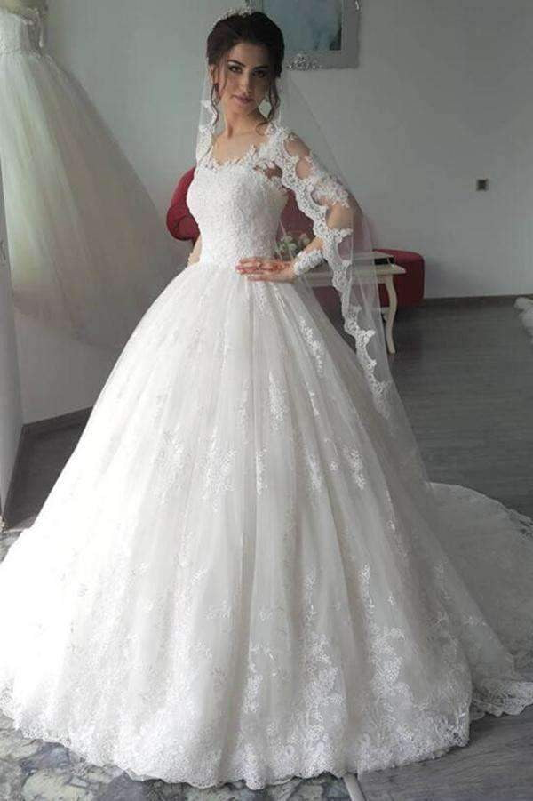 Charming Sweetheart Long Sleeves Wedding Dress Lace Ball Gown Wedding W560