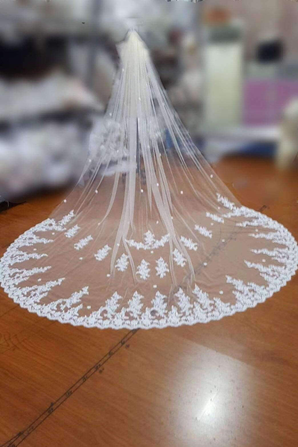 Charming Tulle Lace Applique Chapel Veils Long Wedding Veil V19
