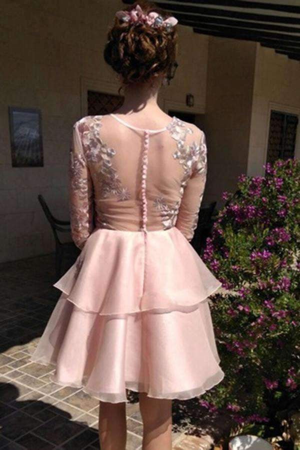 Charming Tulle Lace With Applique Homecoming Dress M486