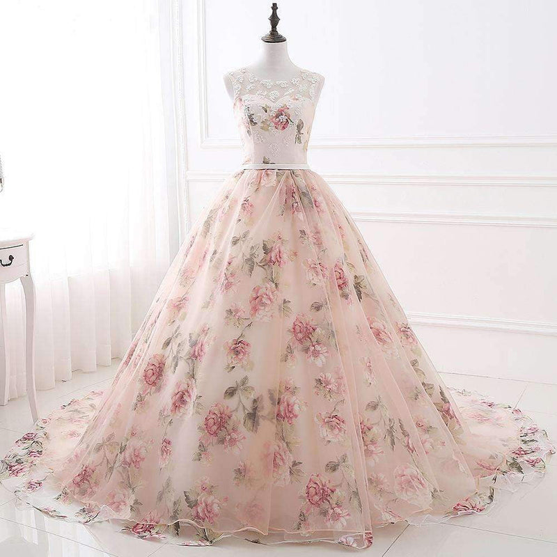 Charming Tulle Round Neck Lace Up Back Ball Gown Long Prom Dress P960