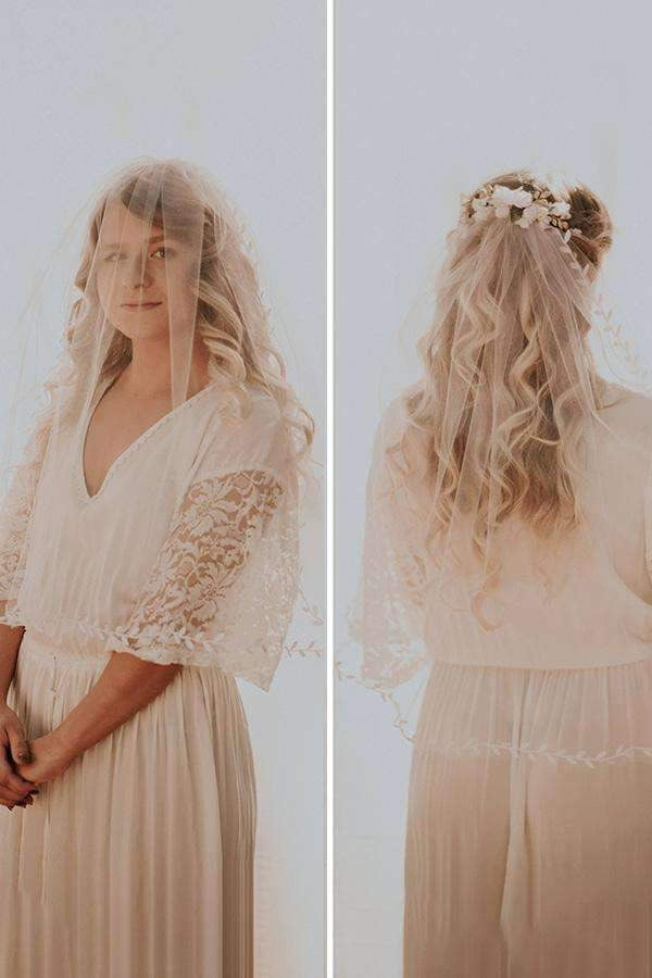 Charming Tulle With Leaf Ribbon Wedding Veils V33