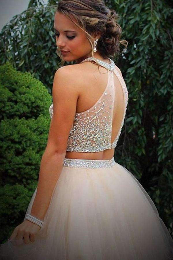 Charming Two Piece A-Line Halter Beading Sleeveless Tulle Homecoming Dresses M297