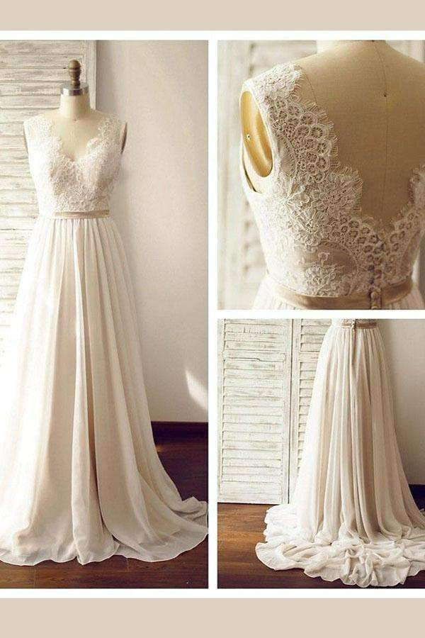 Ivory V-neck Backless Long Chiffon Boho Beach Sleevelss Lace Wedding Dresses, Sheath A Line Train Bridal Dress