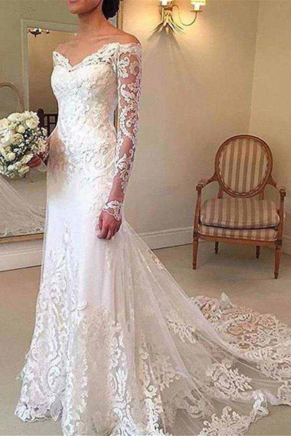 Charming V Neck Long Sleeves Off The Shoulder With Appliques Wedding Dress W398
