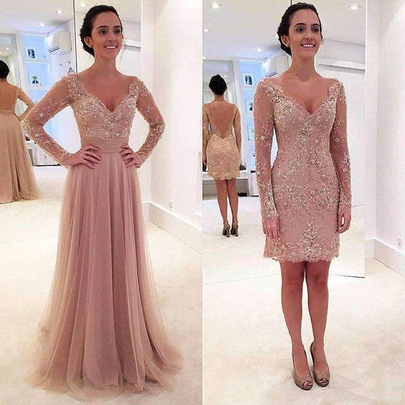 Charming V Neck Long Sleeves with Sequins  Floor Length Tulle Prom Dresses P976
