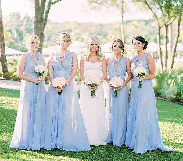 Cheap Blue Sleeveless A Line Chiffon Long Bridesmaid Dresses With Keyhole