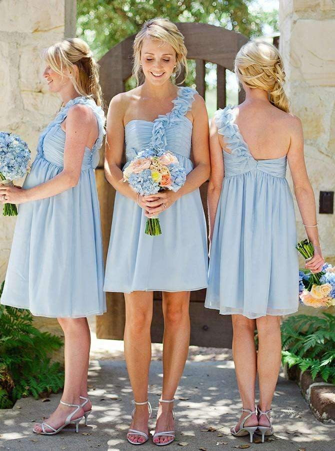 Cheap Sleeveless One Shoulder Ruffles Chiffon Short Bridesmaid Dresses