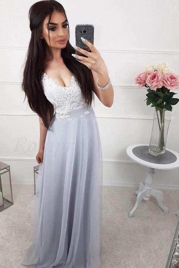 Chic A Line Chiffon Lace V Neck Prom Dresses Formal Party Dress P953
