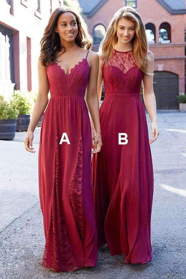 Chic A Line Spaghetti Straps Lace Floor Length Bridesmaid Dress B411