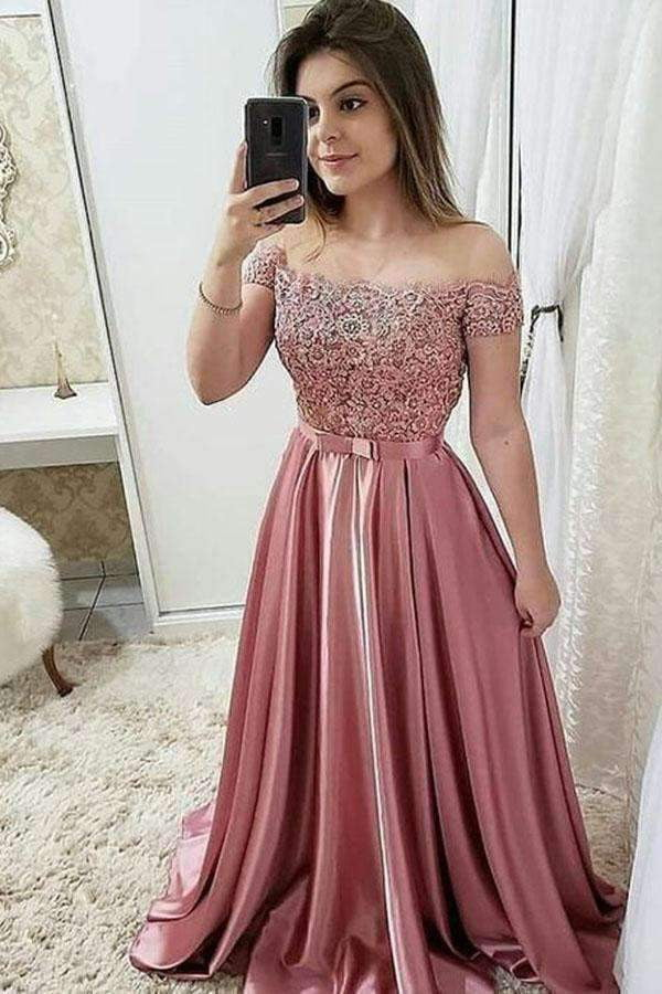 Chic Burgundy Off Shoulder Floor Length Satin Lace Prom Dresses P971