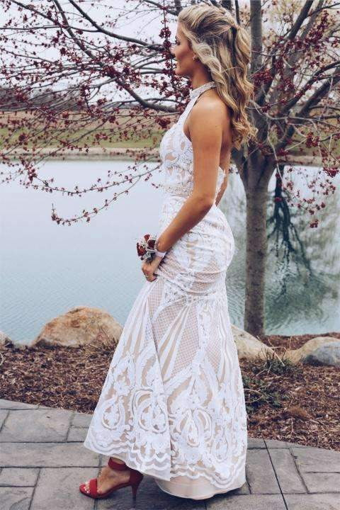 Chic Halter Sleeveless Open Back Mermaid Floor Length Prom Dresses P950