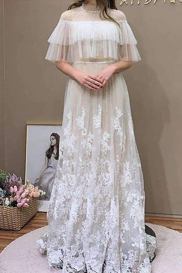 Chic High Neck Tulle A Line Appliques Lace Wedding Dresses W534