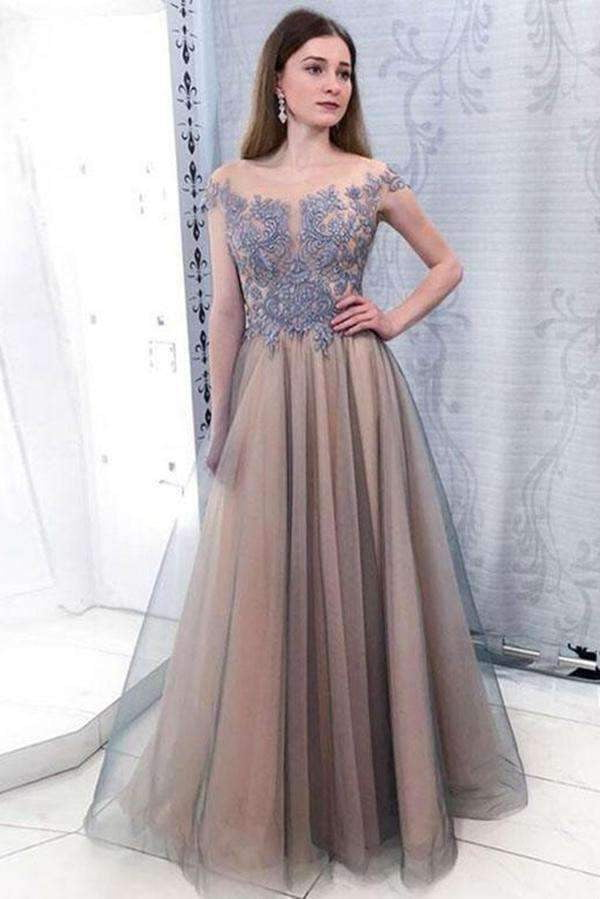 Chic Off Shoulder Sleeveless Floor Length Lace Prom Dresses with Appliques P938
