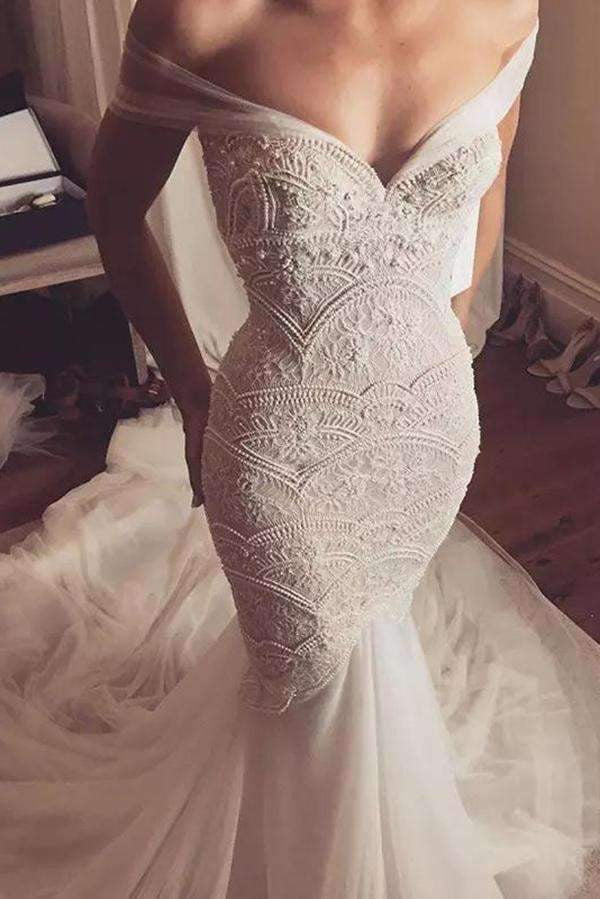 Chic Off-the-shoulder Lace Beading Sweetheart Trumpet Wedding Dress W302