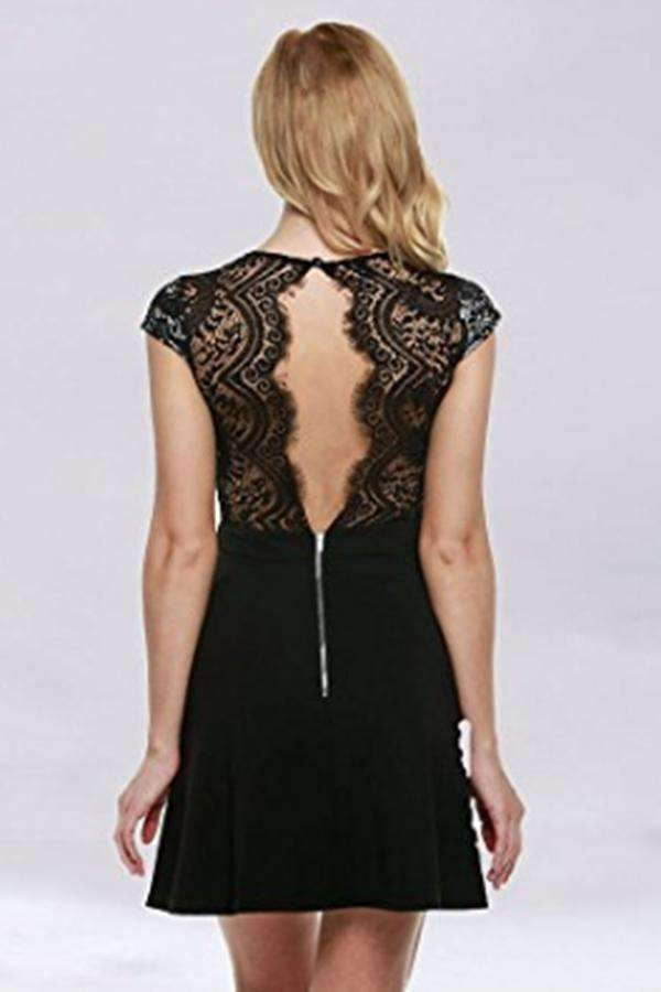 Chic Open Back Lace A Line Knee Length Homecoming Dress M534