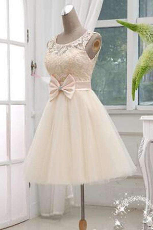 Chic Round Neck A-line Knee Length Bowknot Organza Homecoming Dresses M464