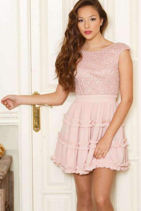 Chic Round Neck Short Sleeves With Appliques Homecoming Dress M489