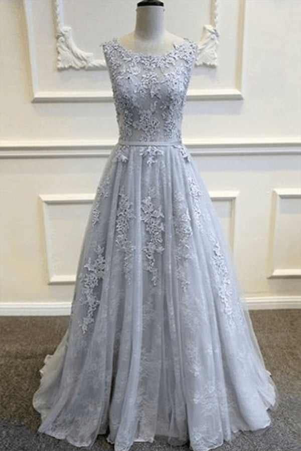 Chic Round Neck V Back Sweep Train Tulle Lace Appliques Prom Dress P789