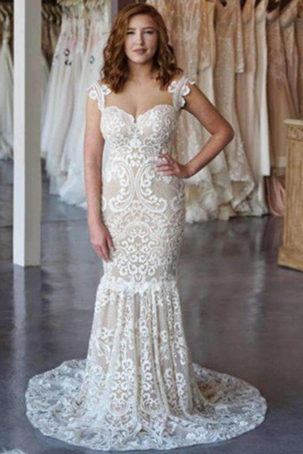 Chic Sleeveless Lace Plus Size Wedding Dresses Mermaid Sweep Train W537