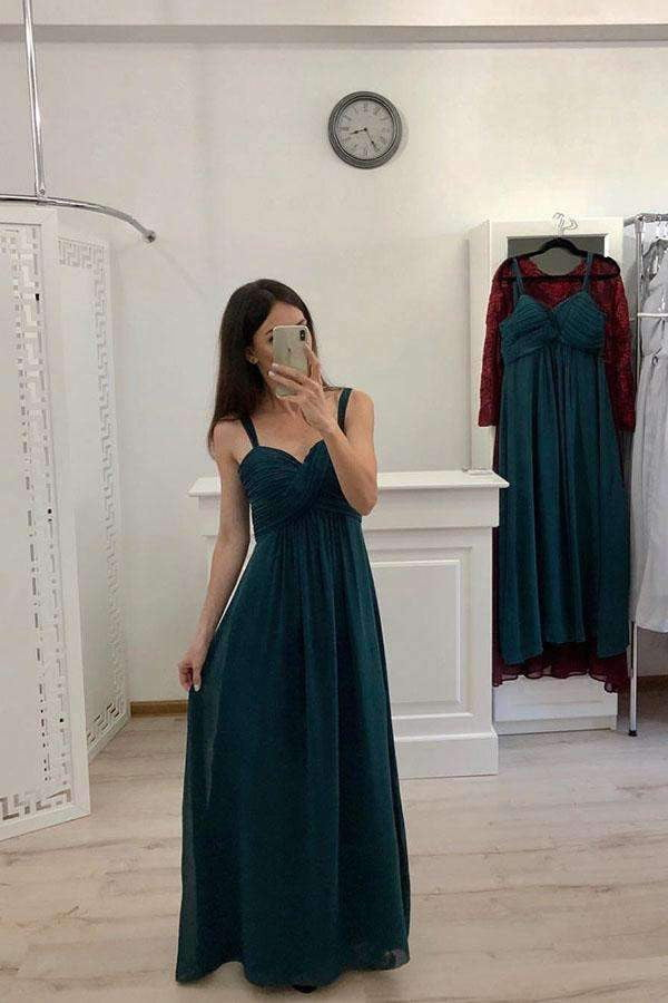 Chic Spaghetti Straps Sweetheart Sleeveless Floor Length Prom Dresses P977