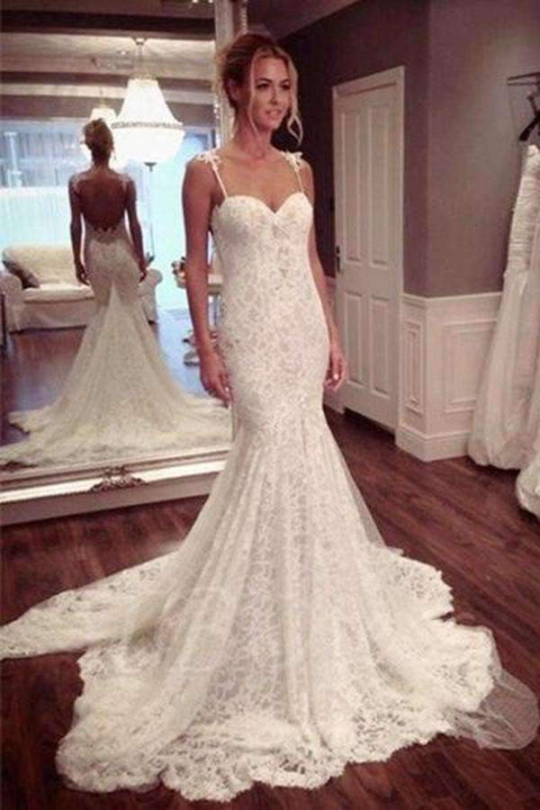 Chic Spaghetti Straps Trumpet Backless Appliques Beaded Wedding Dresses W362
