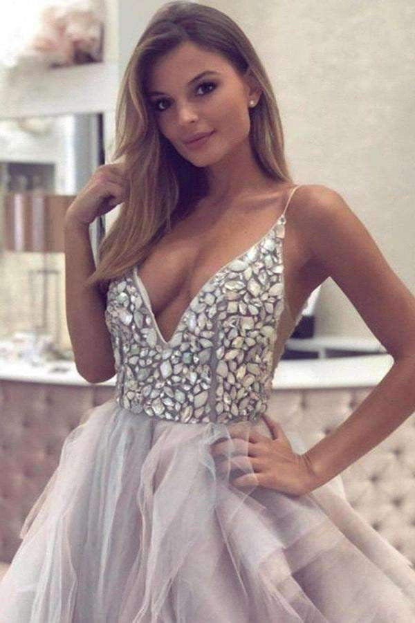 Chic Spaghetti Straps V Neck Beading Sleeveless Open Back Wedding Dress W439