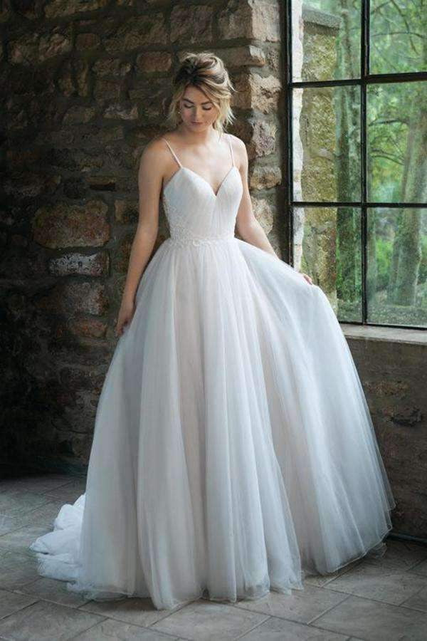 Chic Spaghetti Straps V Neck Tulle Floor Length Wedding Dress W553